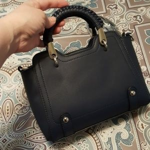 NEW mini bag satchel - deep blue and silver